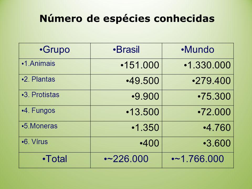 Grupo Brasil Mundo 1.Animais 151.000 1.330.000 2.Plantas 49.500 279.400 3.