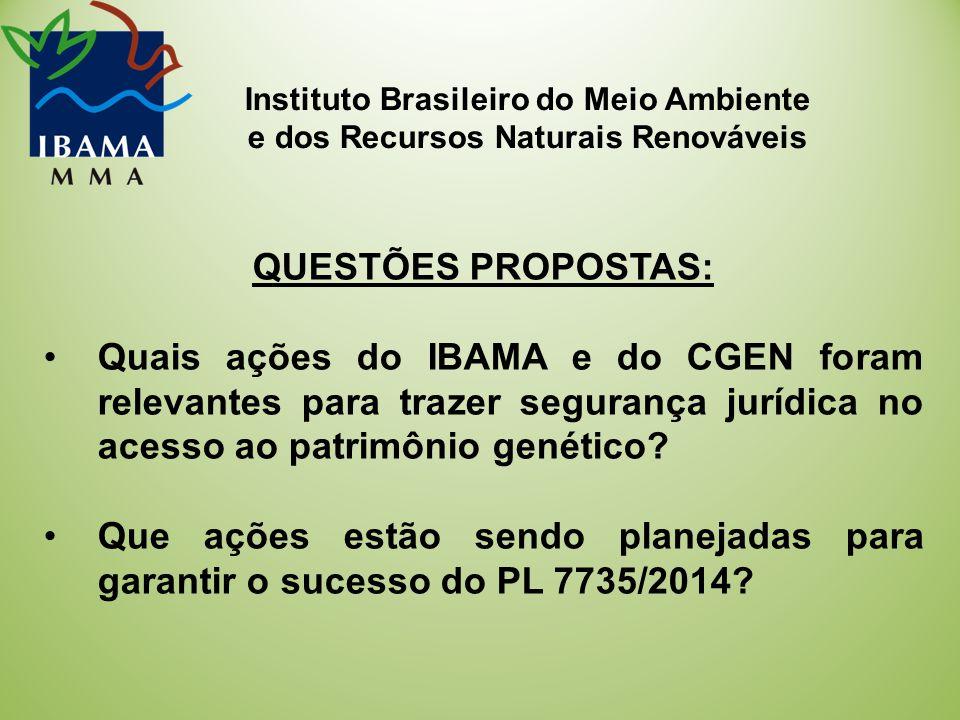 Instituto Brasileiro do Meio Ambiente e dos Recursos Naturais Renováveis QUESTÕES PROPOSTAS: Quais ações do IBAMA e do CGEN foram relevantes para trazer segurança jurídica no acesso ao patrimônio genético.
