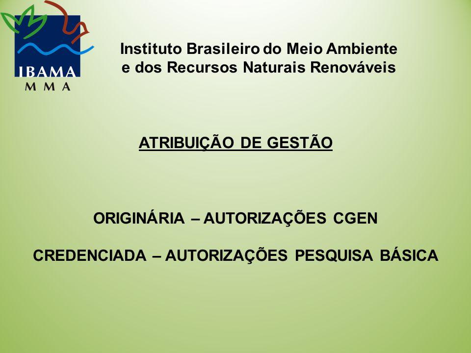 Instituto Brasileiro do Meio Ambiente e dos Recursos Naturais Renováveis ATRIBUIÇÃO DE GESTÃO ORIGINÁRIA – AUTORIZAÇÕES CGEN CREDENCIADA – AUTORIZAÇÕES PESQUISA BÁSICA