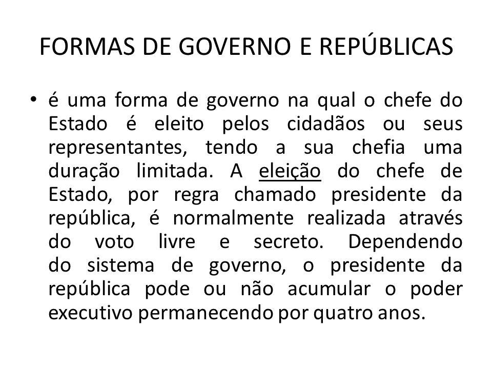 FORMAS DE GOVERNO E REPÚBLICAS é uma forma de governo na qual o chefe do Estado é eleito pelos cidadãos ou seus representantes, tendo a sua chefia uma duração limitada.
