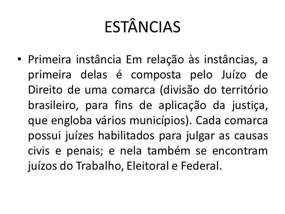 ESTÂNCIAS Primeira instância Em relação às instâncias, a primeira delas é composta pelo Juízo de Direito de uma comarca (divisão do território brasileiro, para fins de aplicação da justiça, que engloba vários municípios).