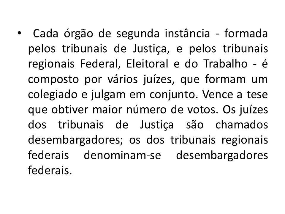 Cada órgão de segunda instância - formada pelos tribunais de Justiça, e pelos tribunais regionais Federal, Eleitoral e do Trabalho - é composto por vários juízes, que formam um colegiado e julgam em conjunto.