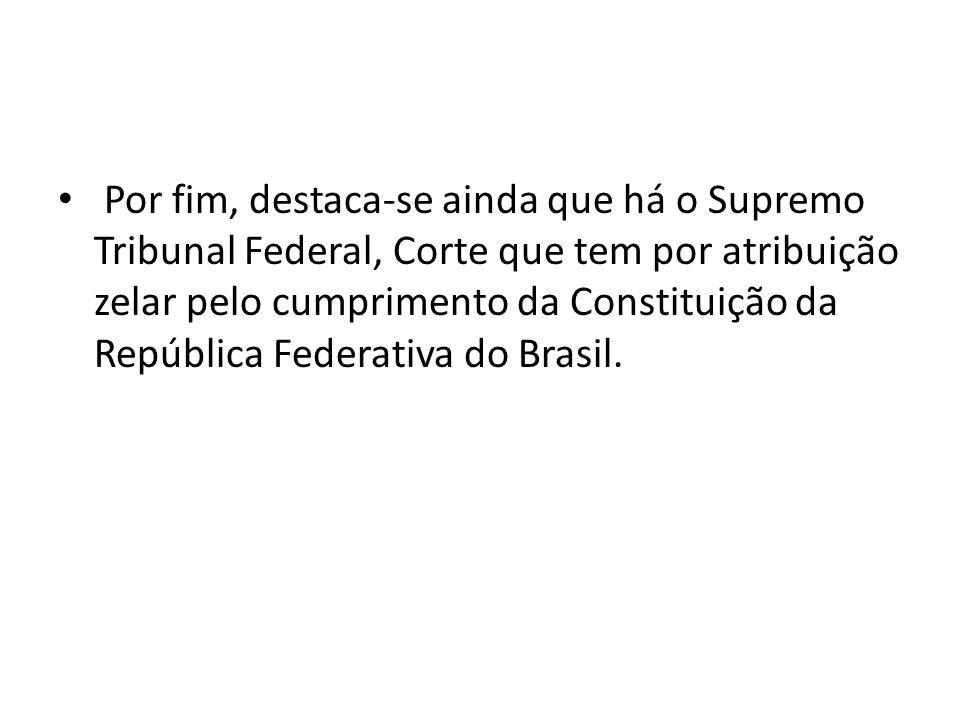 Por fim, destaca-se ainda que há o Supremo Tribunal Federal, Corte que tem por atribuição zelar pelo cumprimento da Constituição da República Federativa do Brasil.