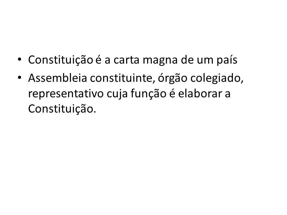 Constituição é a carta magna de um país Assembleia constituinte, órgão colegiado, representativo cuja função é elaborar a Constituição.