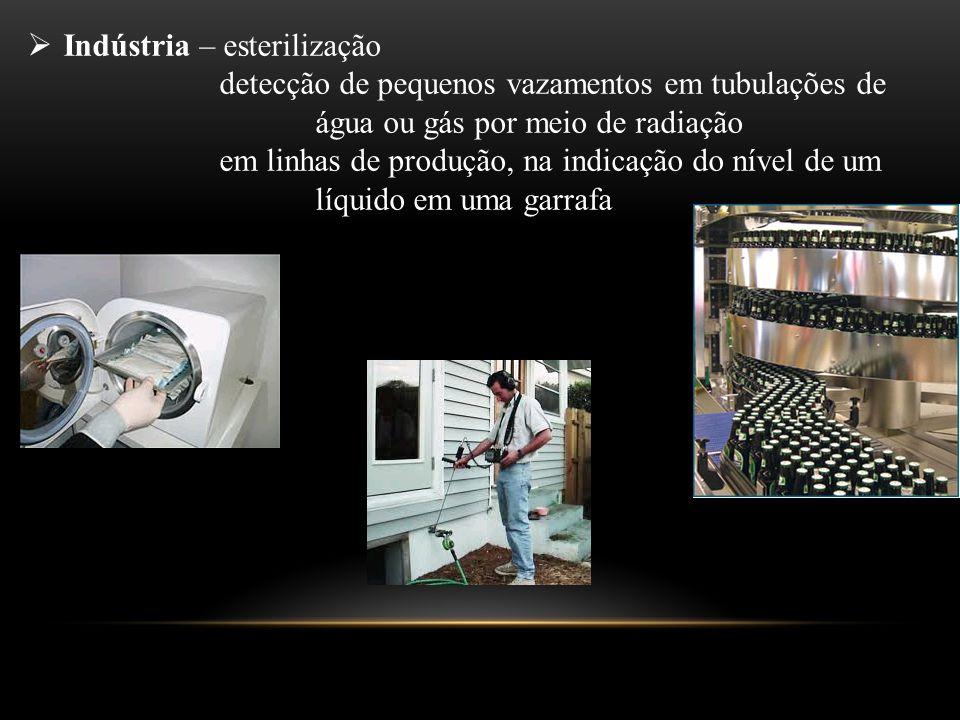  Indústria – esterilização detecção de pequenos vazamentos em tubulações de água ou gás por meio de radiação em linhas de produção, na indicação do n
