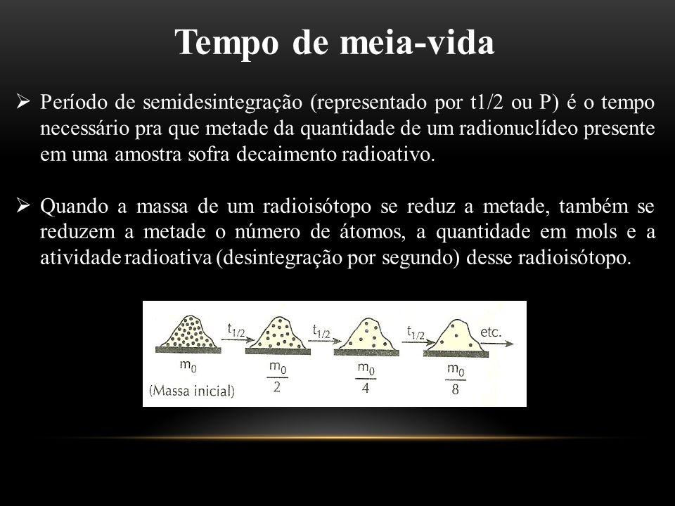 Tempo de meia-vida  Período de semidesintegração (representado por t1/2 ou P) é o tempo necessário pra que metade da quantidade de um radionuclídeo p