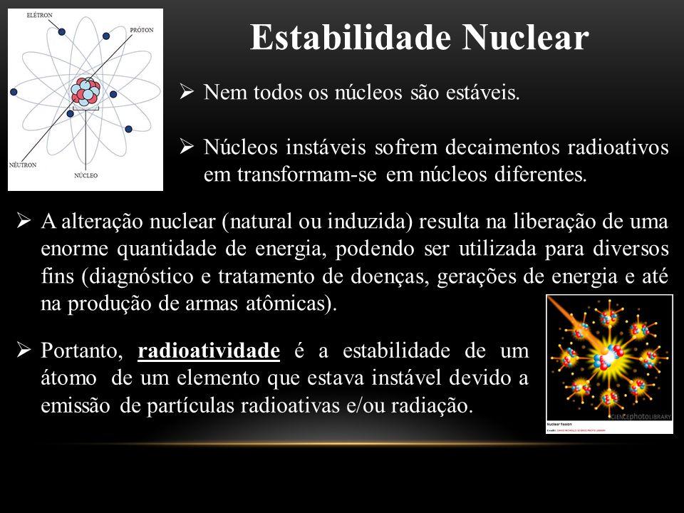 Estabilidade Nuclear  Nem todos os núcleos são estáveis.  Núcleos instáveis sofrem decaimentos radioativos em transformam-se em núcleos diferentes.