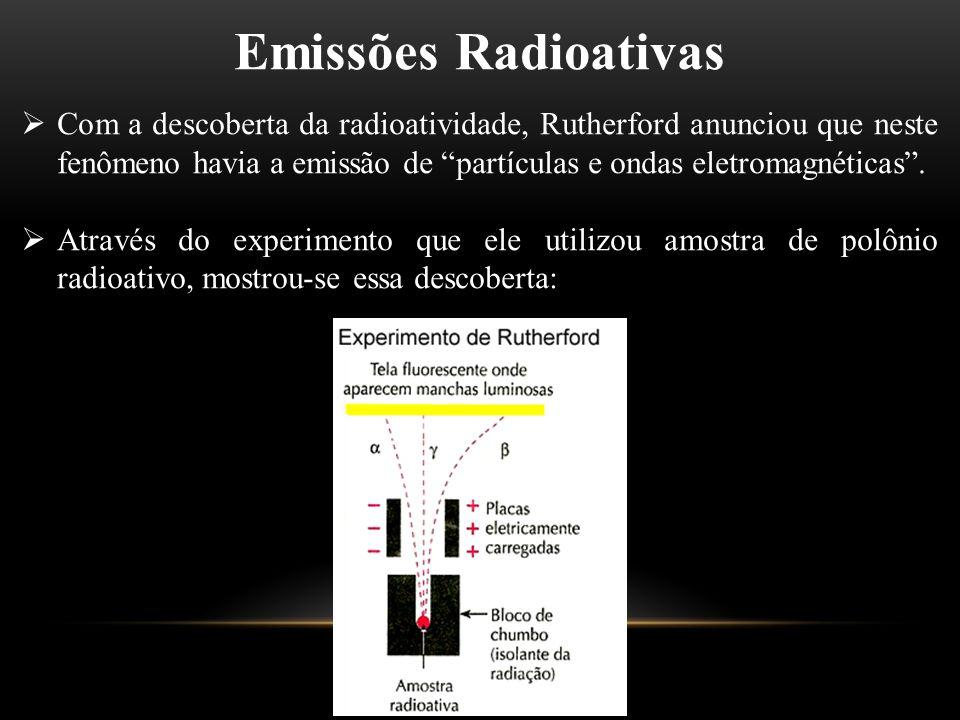 Emissões alfa (α)  A emissão α é de carga positiva, pois era atraído pelo polo negativo do campo magnético.