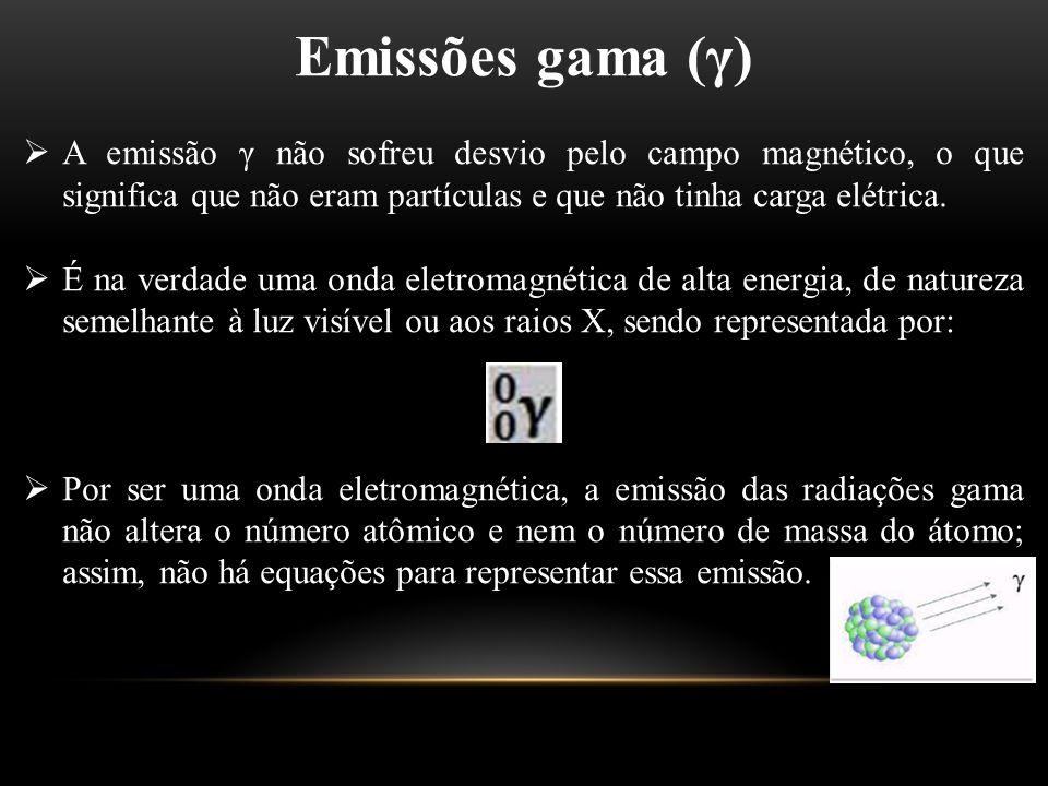 Emissões gama (γ)  A emissão γ não sofreu desvio pelo campo magnético, o que significa que não eram partículas e que não tinha carga elétrica.  É na