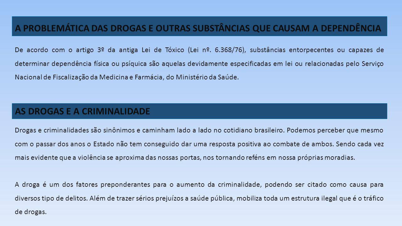 A PROBLEMÁTICA DAS DROGAS E OUTRAS SUBSTÂNCIAS QUE CAUSAM A DEPENDÊNCIA De acordo com o artigo 3º da antiga Lei de Tóxico (Lei nº. 6.368/76), substânc