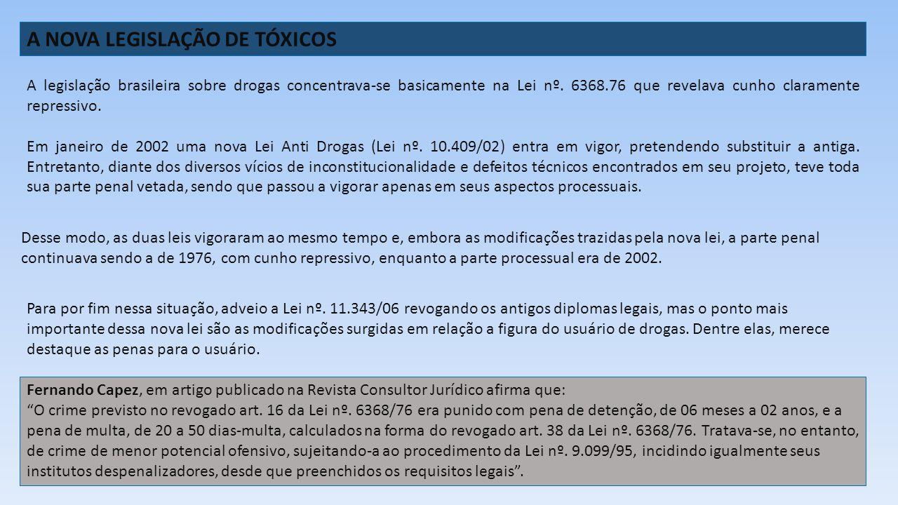 A NOVA LEGISLAÇÃO DE TÓXICOS A legislação brasileira sobre drogas concentrava-se basicamente na Lei nº. 6368.76 que revelava cunho claramente repressi