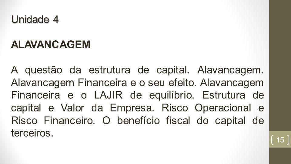 15 Unidade 4 ALAVANCAGEM A questão da estrutura de capital.