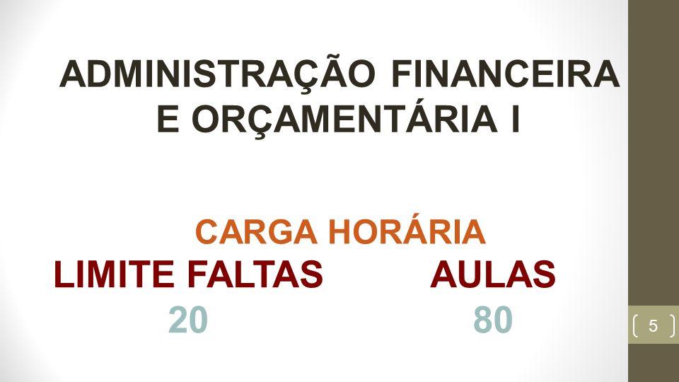 5 LIMITE FALTAS 20 AULAS 80 CARGA HORÁRIA ADMINISTRAÇÃO FINANCEIRA E ORÇAMENTÁRIA I