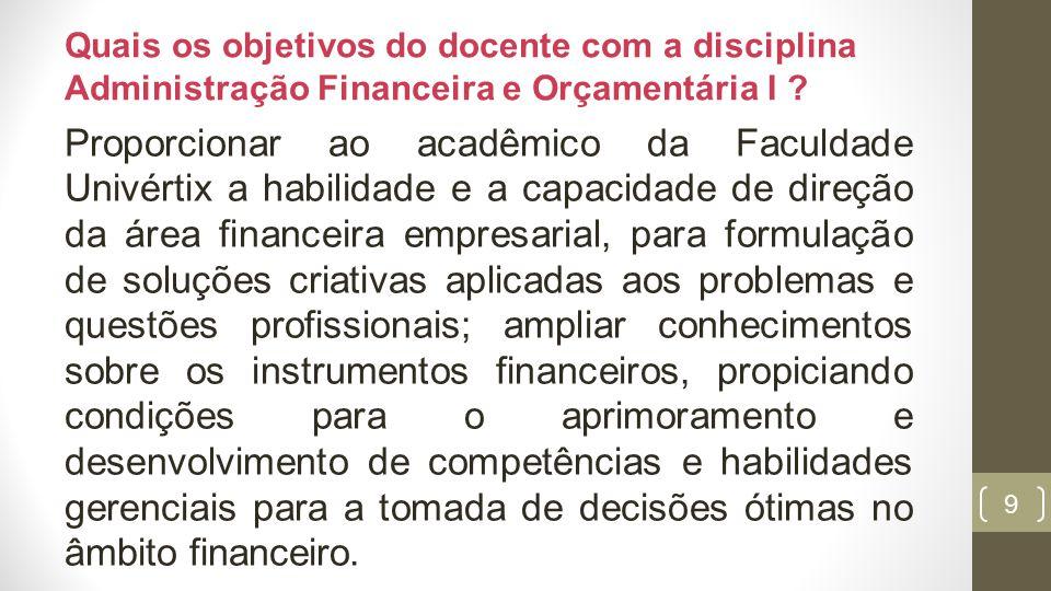 10 Ementa da disciplina Unidade 1 A VISÃO GERAL DA ADMINISTRAÇÃO FINANCEIRA Administração Financeira nas empresas.