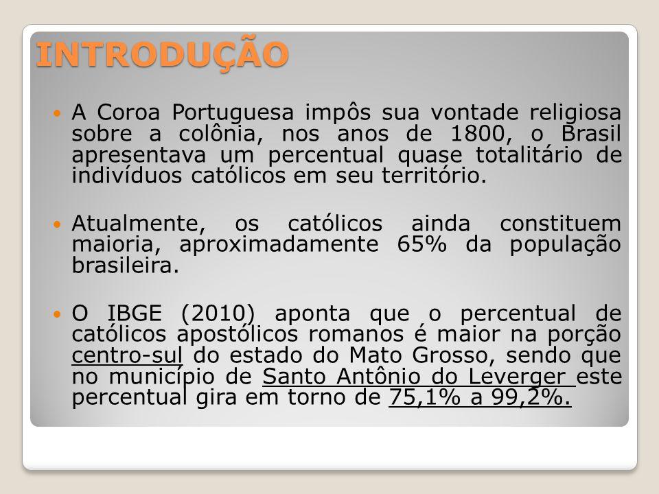 INTRODUÇÃO A Coroa Portuguesa impôs sua vontade religiosa sobre a colônia, nos anos de 1800, o Brasil apresentava um percentual quase totalitário de indivíduos católicos em seu território.