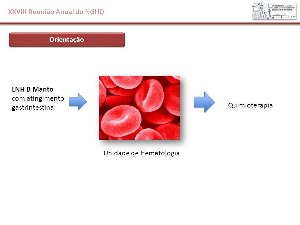 XXVIII Reunião Anual do NGHD Orientação Unidade de Hematologia Quimioterapia LNH B Manto com atingimento gastrintestinal