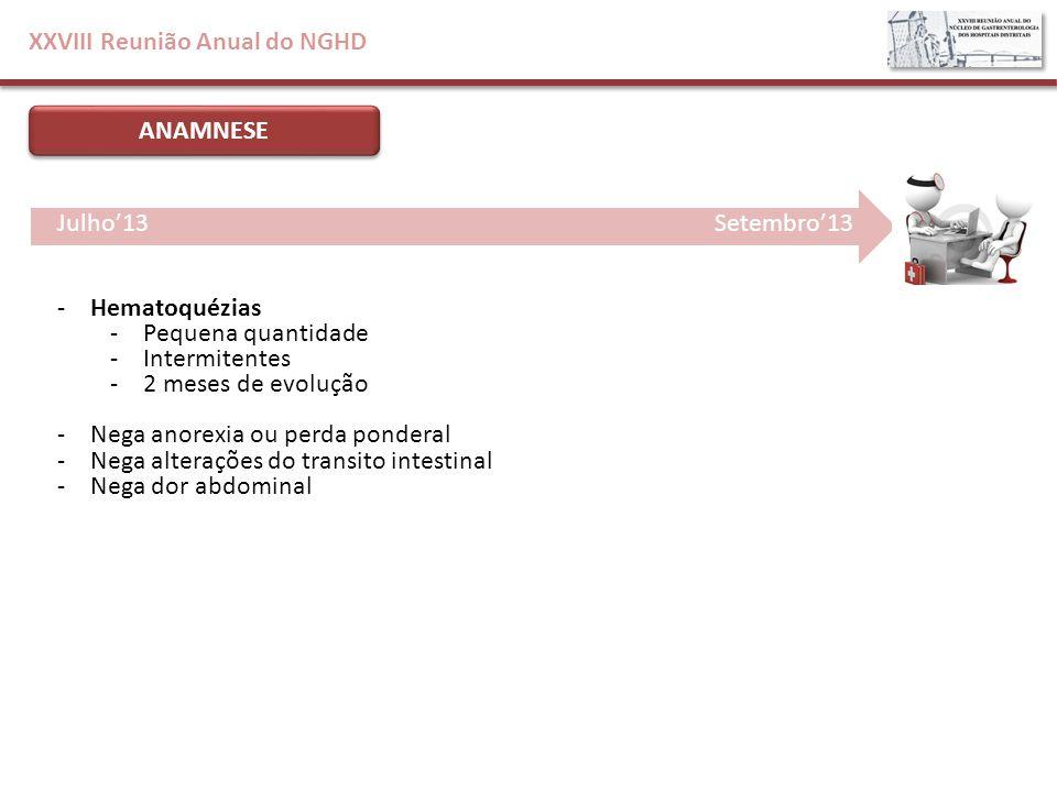 XXVIII Reunião Anual do NGHD ANAMNESE -Hematoquézias -Pequena quantidade -Intermitentes -2 meses de evolução -Nega anorexia ou perda ponderal -Nega al