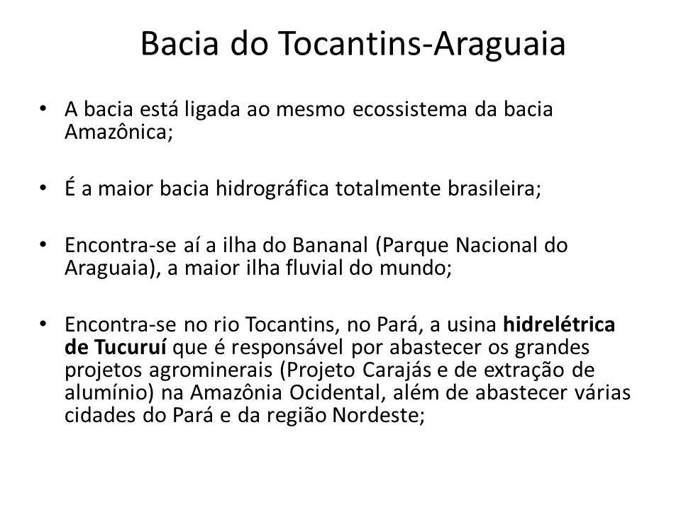 Bacia do Tocantins-Araguaia A bacia está ligada ao mesmo ecossistema da bacia Amazônica; É a maior bacia hidrográfica totalmente brasileira; Encontra-se aí a ilha do Bananal (Parque Nacional do Araguaia), a maior ilha fluvial do mundo; Encontra-se no rio Tocantins, no Pará, a usina hidrelétrica de Tucuruí que é responsável por abastecer os grandes projetos agrominerais (Projeto Carajás e de extração de alumínio) na Amazônia Ocidental, além de abastecer várias cidades do Pará e da região Nordeste;