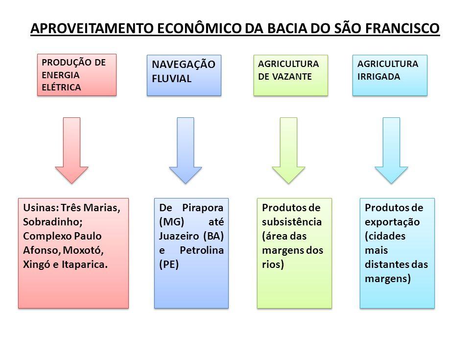 APROVEITAMENTO ECONÔMICO DA BACIA DO SÃO FRANCISCO PRODUÇÃO DE ENERGIA ELÉTRICA NAVEGAÇÃO FLUVIAL AGRICULTURA DE VAZANTE AGRICULTURA IRRIGADA Usinas: Três Marias, Sobradinho; Complexo Paulo Afonso, Moxotó, Xingó e Itaparica.