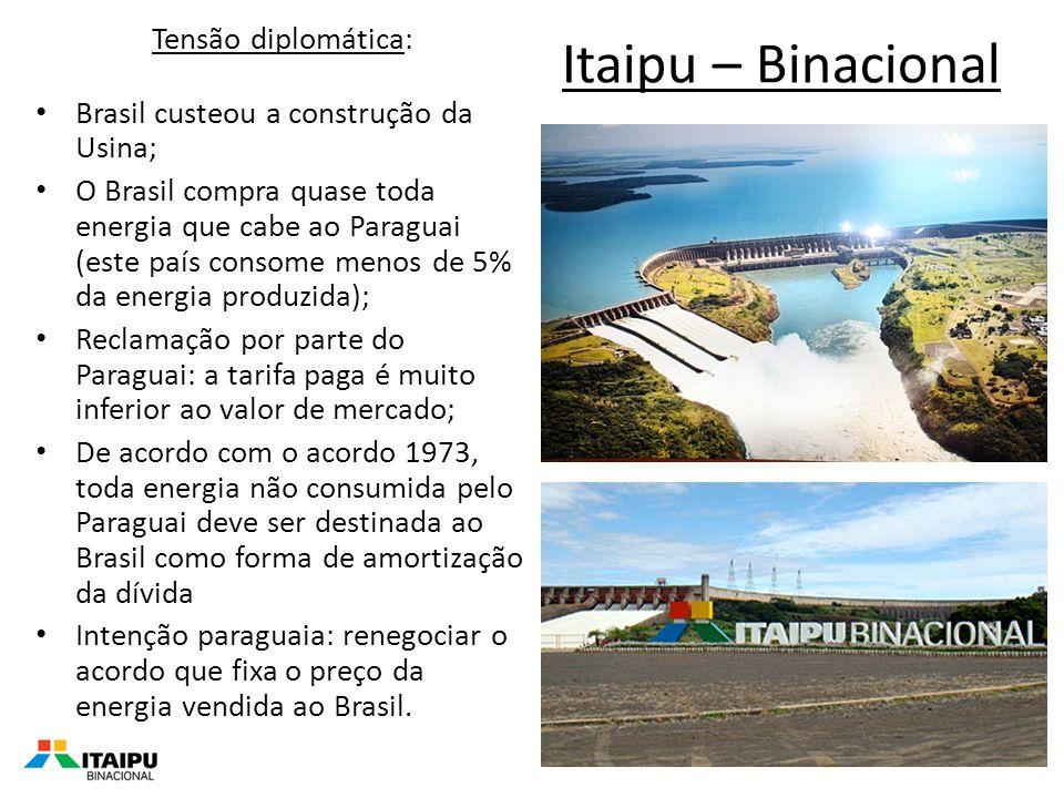 Itaipu – Binacional Tensão diplomática: Brasil custeou a construção da Usina; O Brasil compra quase toda energia que cabe ao Paraguai (este país consome menos de 5% da energia produzida); Reclamação por parte do Paraguai: a tarifa paga é muito inferior ao valor de mercado; De acordo com o acordo 1973, toda energia não consumida pelo Paraguai deve ser destinada ao Brasil como forma de amortização da dívida Intenção paraguaia: renegociar o acordo que fixa o preço da energia vendida ao Brasil.