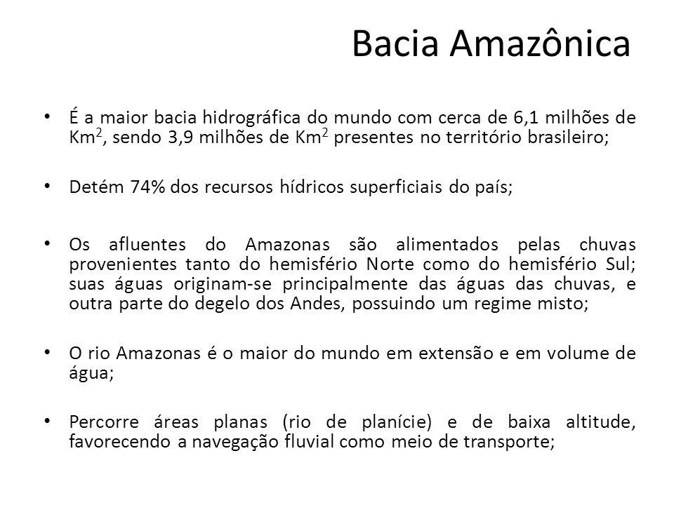 Bacia Amazônica Os rios da Amazônia representam um meio de vida pra a população ribeirinha e diversos povos indígenas; O rio Madeira serve como eixo de escoamento para a soja produzida no Mato Grosso e exportada através do porto Itacoatiara (AM); Apresenta afluentes que nascem nos planaltos vizinhos (Planalto das Guianas ao norte e Planalto Brasileiro ao sul), que possuem grande potencial hidrelétrico, o maior do país, porém ainda pouco aproveitado devido a grande distância dos centros mais povoados e desenvolvidos presentes no Sul e Sudeste;
