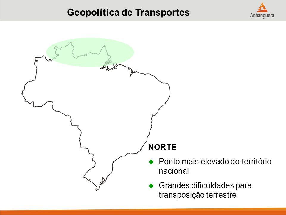 Geopolítica de Transportes NORTE  Ponto mais elevado do território nacional  Grandes dificuldades para transposição terrestre
