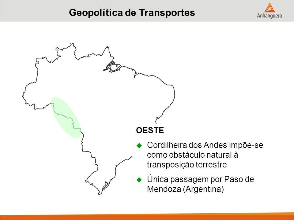 Geopolítica de Transportes OESTE  Cordilheira dos Andes impõe-se como obstáculo natural à transposição terrestre  Única passagem por Paso de Mendoza (Argentina)