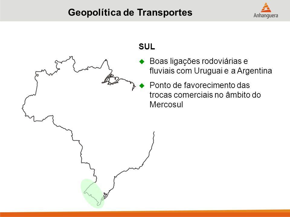 Geopolítica de Transportes SUL  Boas ligações rodoviárias e fluviais com Uruguai e a Argentina  Ponto de favorecimento das trocas comerciais no âmbito do Mercosul