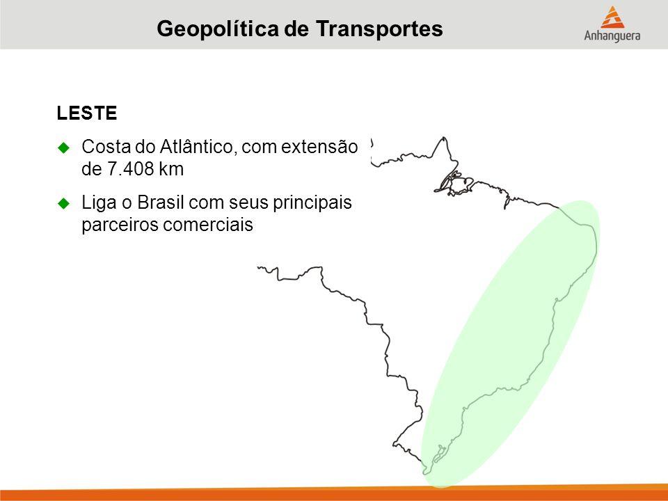 Geopolítica de Transportes LESTE  Costa do Atlântico, com extensão de 7.408 km  Liga o Brasil com seus principais parceiros comerciais