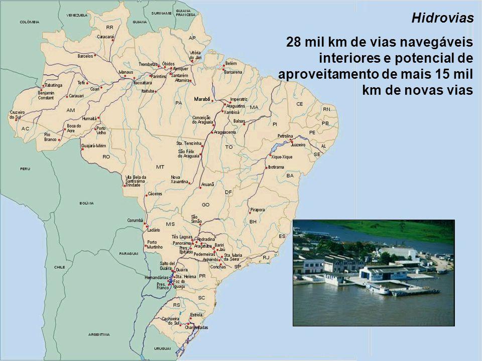 21 Hidrovias 28 mil km de vias navegáveis interiores e potencial de aproveitamento de mais 15 mil km de novas vias