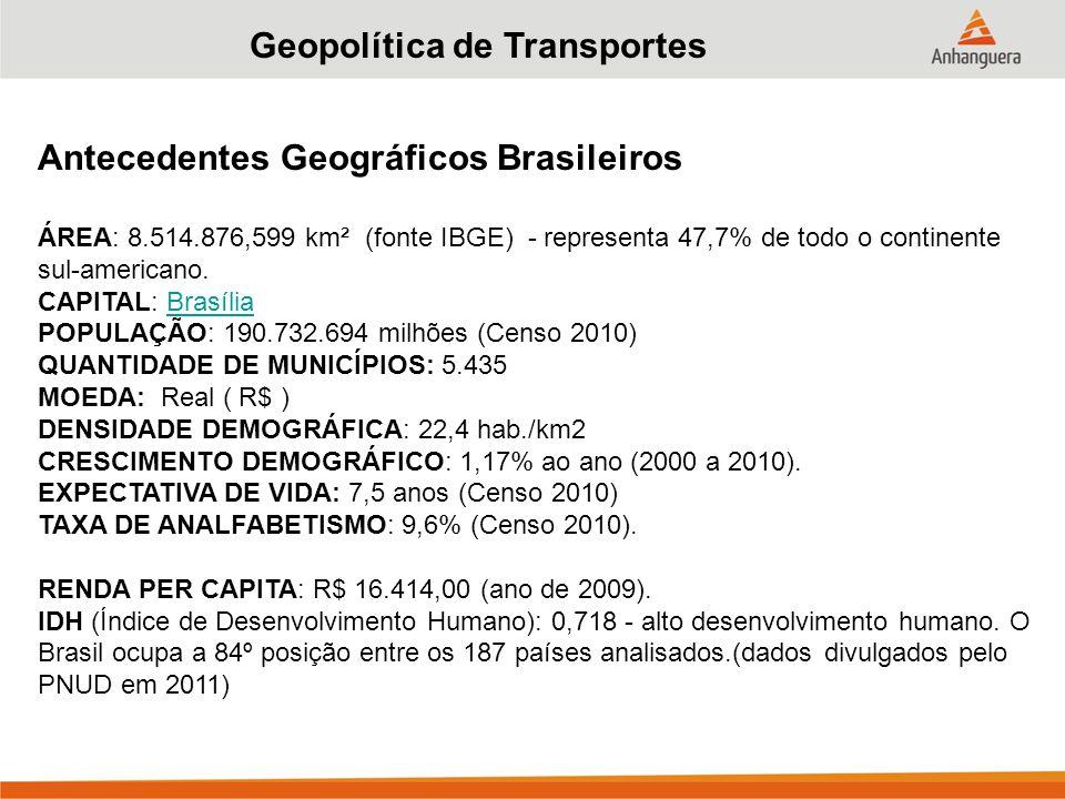 Geopolítica de Transportes Antecedentes Geográficos Brasileiros ÁREA: 8.514.876,599 km² (fonte IBGE) - representa 47,7% de todo o continente sul-americano.