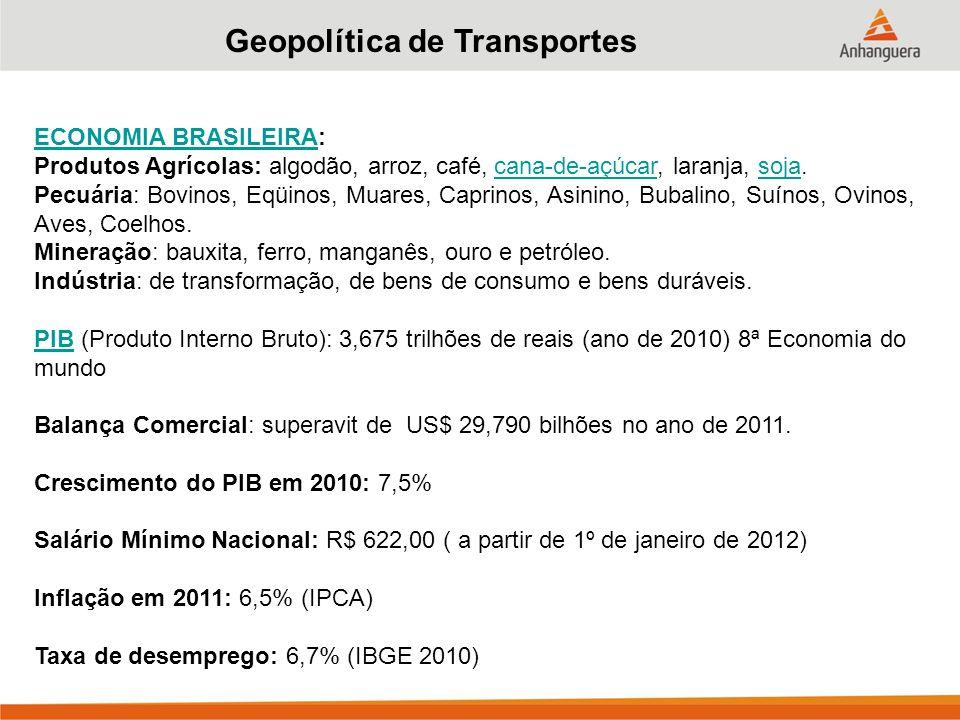Geopolítica de Transportes ECONOMIA BRASILEIRAECONOMIA BRASILEIRA: Produtos Agrícolas: algodão, arroz, café, cana-de-açúcar, laranja, soja.
