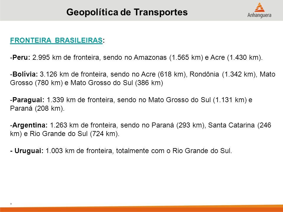 Geopolítica de Transportes FRONTEIRA BRASILEIRASFRONTEIRA BRASILEIRAS: -Peru: 2.995 km de fronteira, sendo no Amazonas (1.565 km) e Acre (1.430 km).