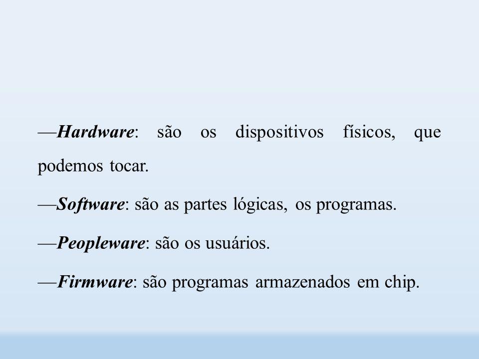 ––Hardware: são os dispositivos físicos, que podemos tocar.