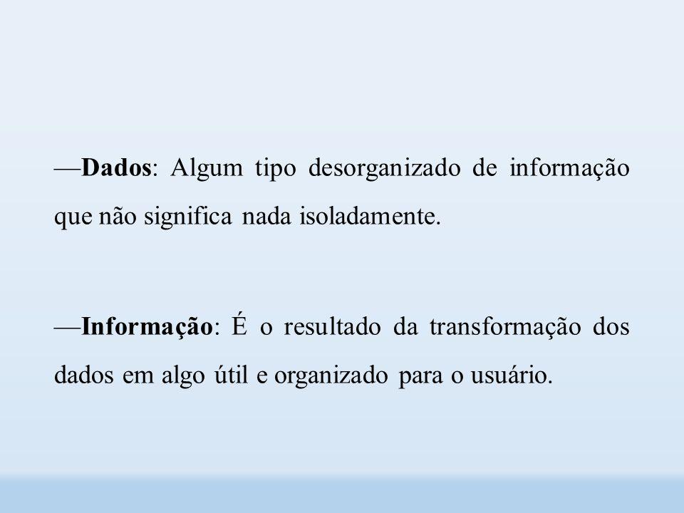 ––Dados: Algum tipo desorganizado de informação que não significa nada isoladamente.