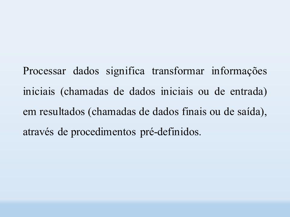 Processar dados significa transformar informações iniciais (chamadas de dados iniciais ou de entrada) em resultados (chamadas de dados finais ou de saída), através de procedimentos pré-definidos.