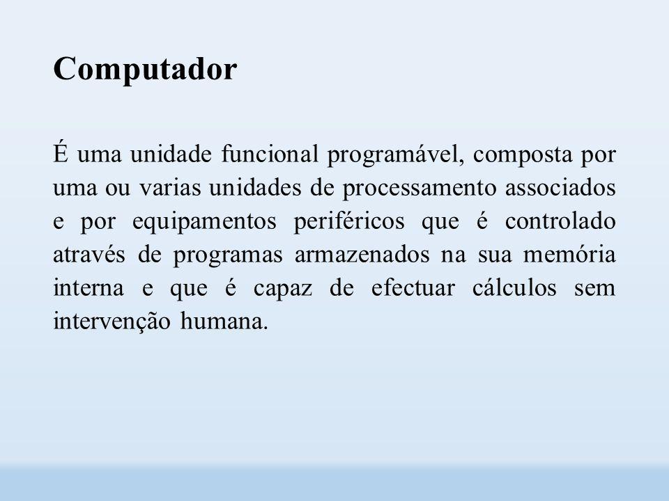 Computador É uma unidade funcional programável, composta por uma ou varias unidades de processamento associados e por equipamentos periféricos que é controlado através de programas armazenados na sua memória interna e que é capaz de efectuar cálculos sem intervenção humana.