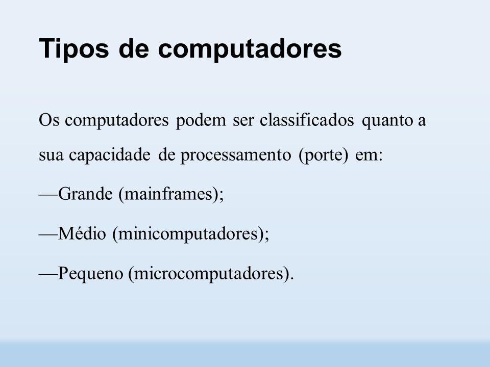 Tipos de computadores Os computadores podem ser classificados quanto a sua capacidade de processamento (porte) em: ––Grande (mainframes); ––Médio (minicomputadores); ––Pequeno (microcomputadores).