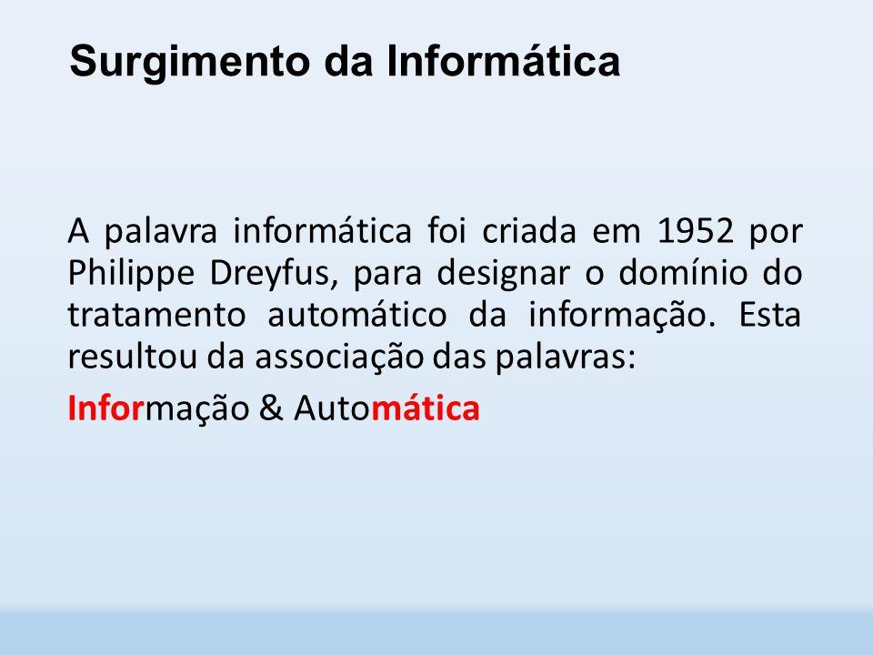 Surgimento da Informática A palavra informática foi criada em 1952 por Philippe Dreyfus, para designar o domínio do tratamento automático da informação.