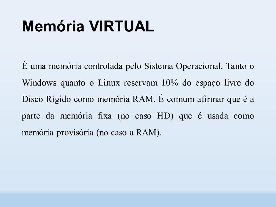 Memória VIRTUAL É uma memória controlada pelo Sistema Operacional.