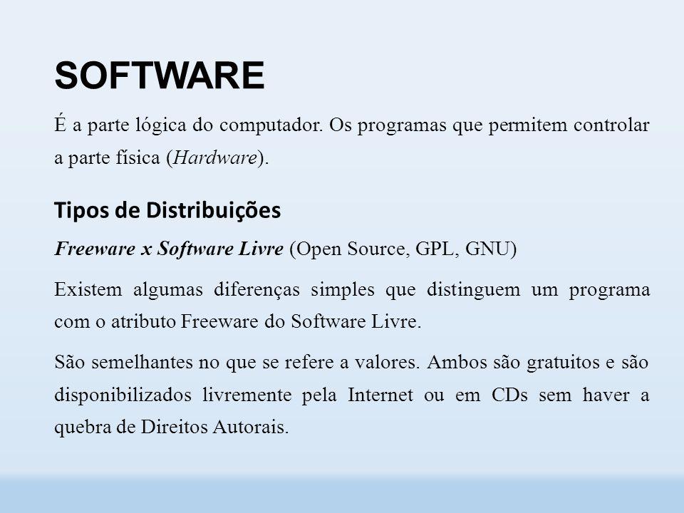 SOFTWARE É a parte lógica do computador.