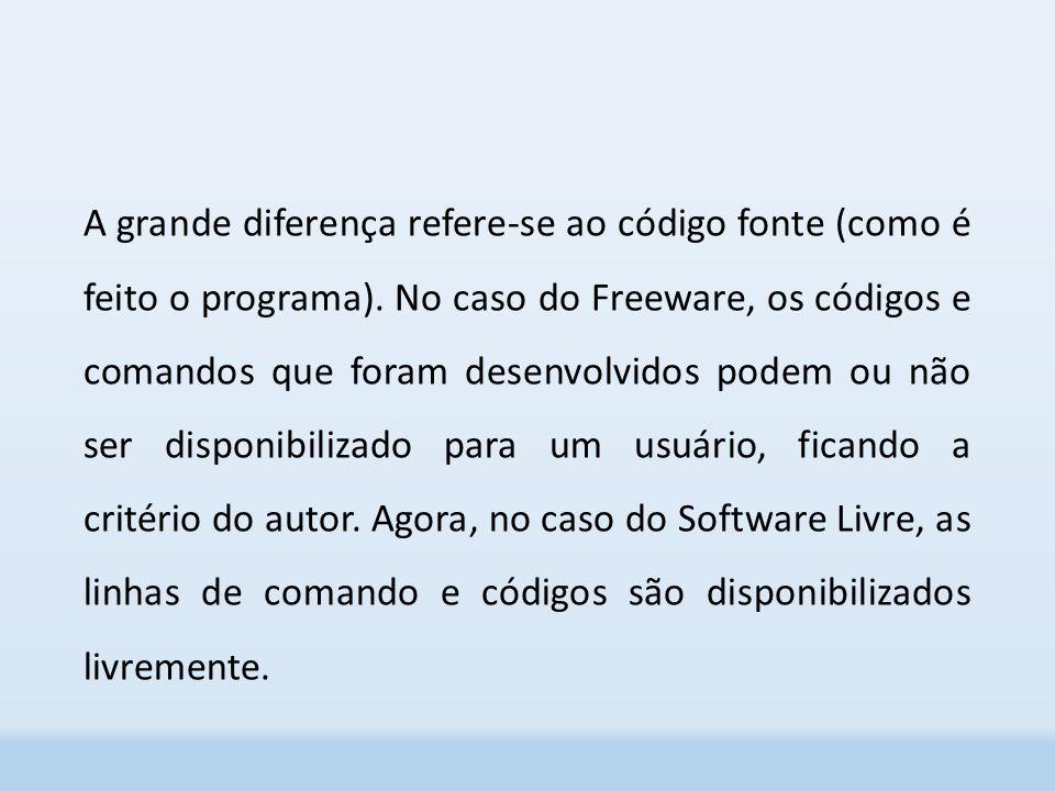 A grande diferença refere-se ao código fonte (como é feito o programa).