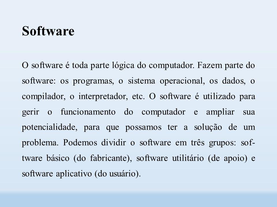 Software O software é toda parte lógica do computador.
