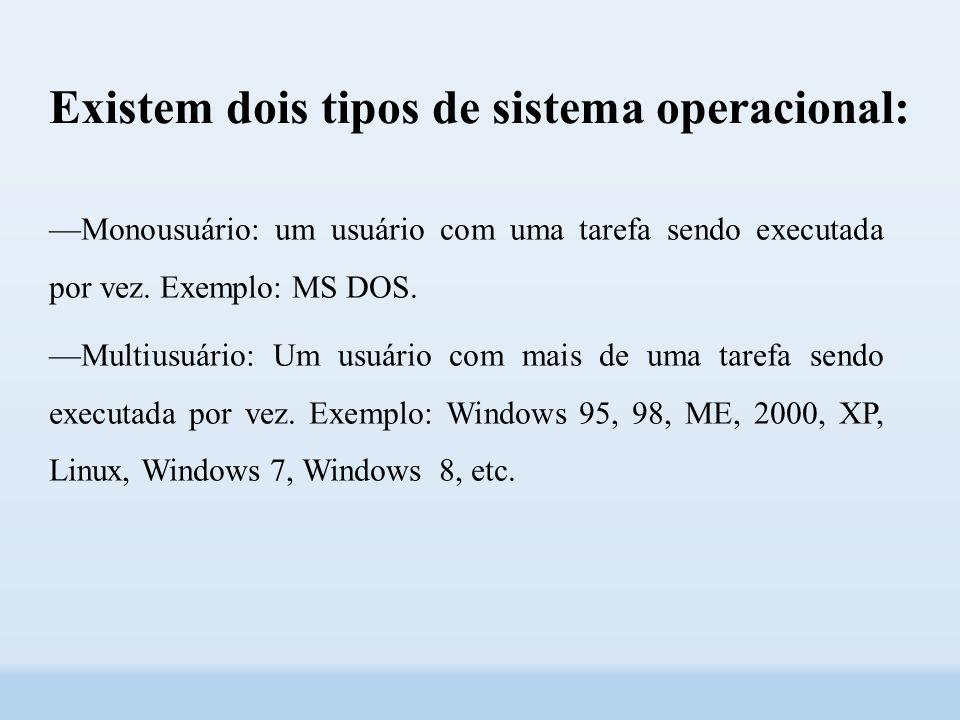 Existem dois tipos de sistema operacional: ––Monousuário: um usuário com uma tarefa sendo executada por vez.