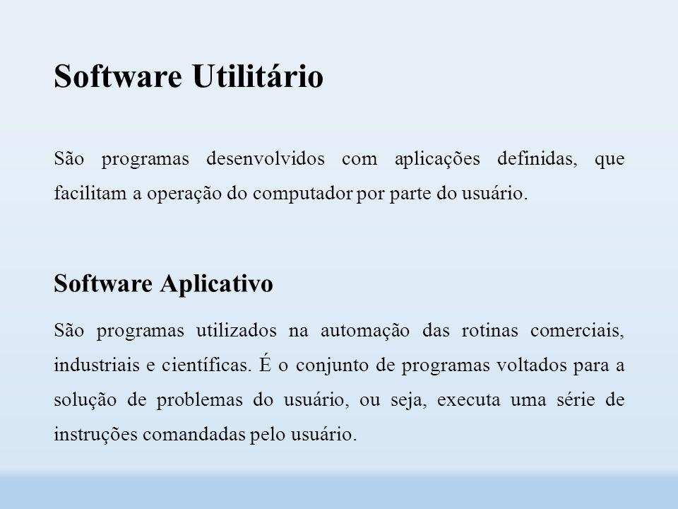 Software Utilitário São programas desenvolvidos com aplicações definidas, que facilitam a operação do computador por parte do usuário.