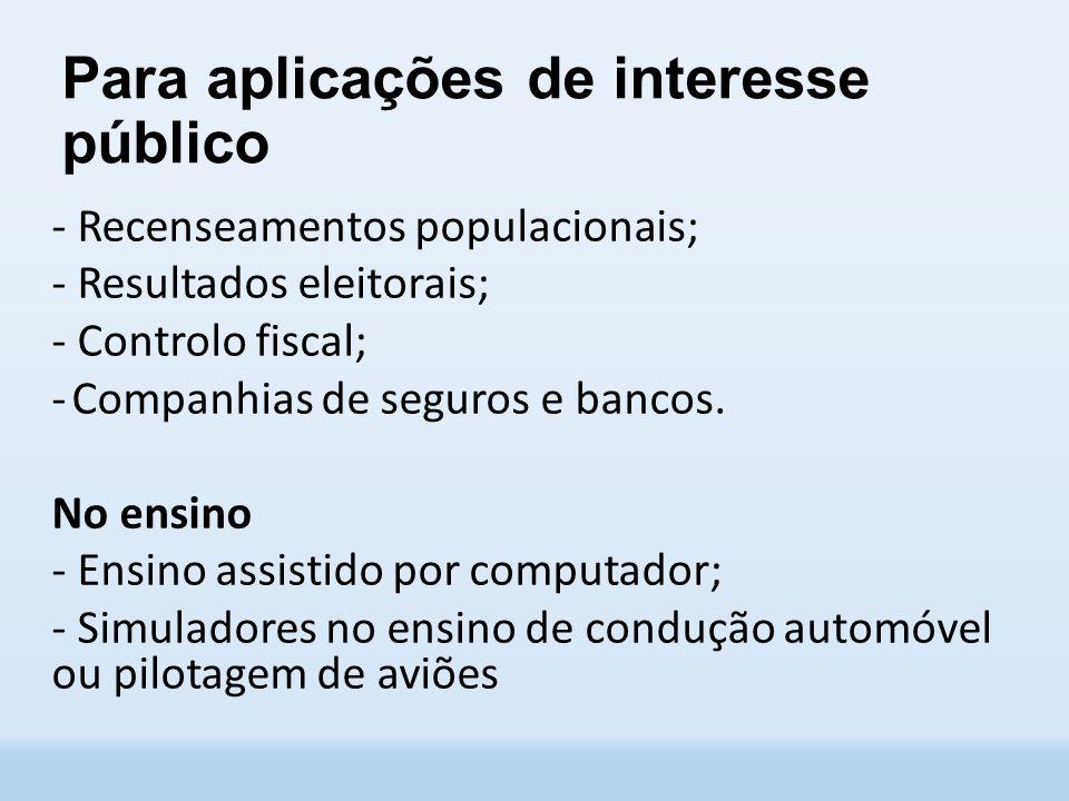 Para aplicações de interesse público - Recenseamentos populacionais; - Resultados eleitorais; - Controlo fiscal; -Companhias de seguros e bancos.