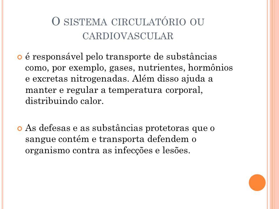 O SISTEMA CIRCULATÓRIO OU CARDIOVASCULAR é responsável pelo transporte de substâncias como, por exemplo, gases, nutrientes, hormônios e excretas nitrogenadas.