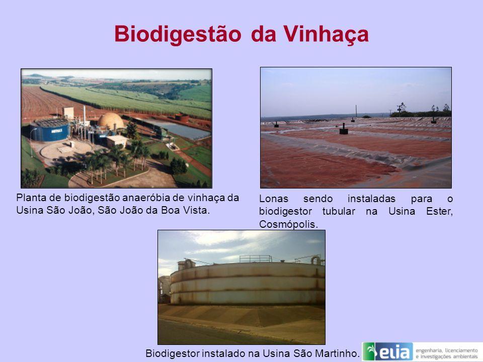 Biodigestão da Vinhaça Planta de biodigestão anaeróbia de vinhaça da Usina São João, São João da Boa Vista. Lonas sendo instaladas para o biodigestor
