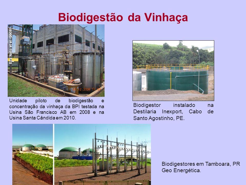 Biodigestor Usina JB/CETREL Recife 2012 60 m 3 /h vinhaça Reator de 1000 m 3 0,87 MW Biodigestão de Vinhaça - CETREL