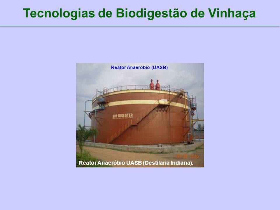 Reator Anaeróbio UASB (Destilaria Indiana). Tecnologias de Biodigestão de Vinhaça Reator Anaérobio (UASB)